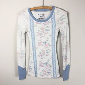 Free People Floral Thermal Waffle Knit Cuff 823